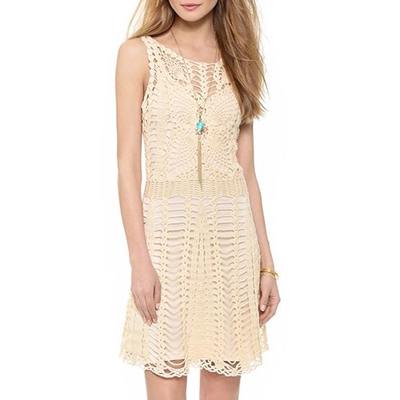 Free People Dresses & Skirts - Free People Crochet Mini Dress in Ivory
